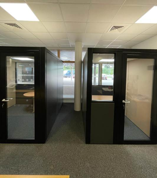 Acoustic pods in the reception area of St John's School in Kent